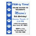 blue - dog or cat themed birthday party invitation