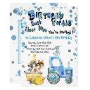 blue drive by birthday farm animals invitation