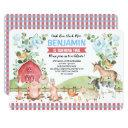 blue floral farm animals barnyard birthday party invitation