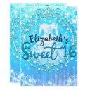 blue frozen winter ice dress sweet 16 party invitation