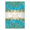 blue glitter & gold damask quinceanera invite