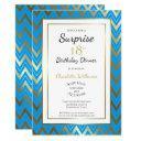 blue gold chevron surprise 18th birthday dinner invitation