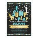 blue gold jump & bounce trampoline birthday party invitations