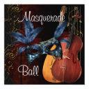 blue mask musical instruments masquerade ball inv invitation