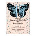 blue pink butterfly glitter confetti quinceañera invitation