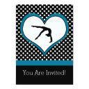 blue polka-dot gymnastics with heart invitations