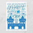 blue princess winter birthday party invitation