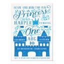 blue princess winter birthday party invitations