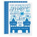 blue princess winter second birthday party invitations