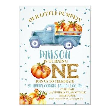 Small Blue Pumpkin Truck 1st Birthday Invitation Front View