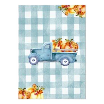 Small Blue Pumpkin Truck 1st Birthday Invitation Back View