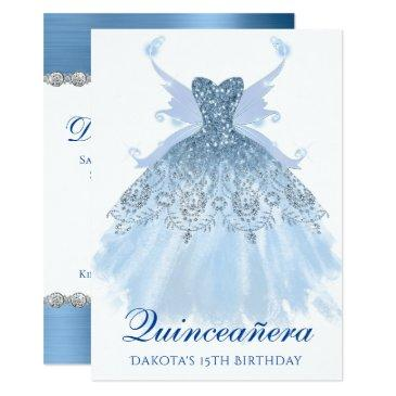 blue quinceanera glitzy sparkle gown pixie wings invitation