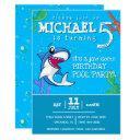 blue shark cute kids birthday pool party invitation