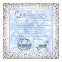 blue silver cinderella princess quinceanera invitation