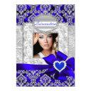 blue & silver damask quinceanera announcements