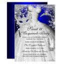blue & silver princess masquerade sweet 16 invite
