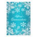 blue snowflake winter wonderland quinceanera invitations