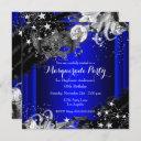 blue sparkle magical night masquerade party invitation
