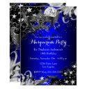 blue sparkle magical night masquerade party invite