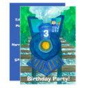 blue steam train 3rd birthday party invitation