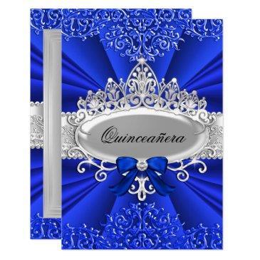 blue tiara & damask quinceanera invite