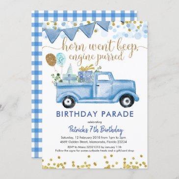 blue truck boy drive by birthday parade invitation