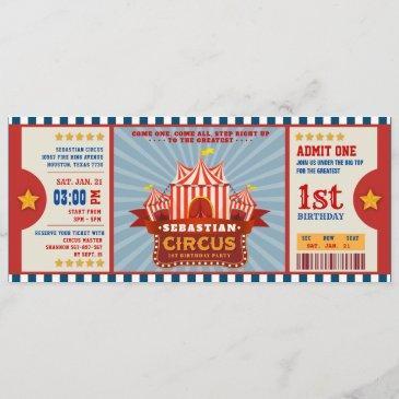 blue vintage circus ticket entrance first birthday invitation