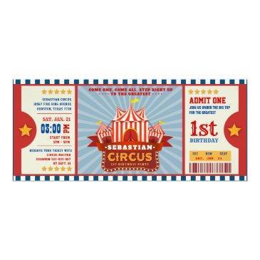 Vintage Circus Birthday Invitations Admission Ticket Boy Girl