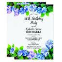 blue watercolor floral birthday party invitations