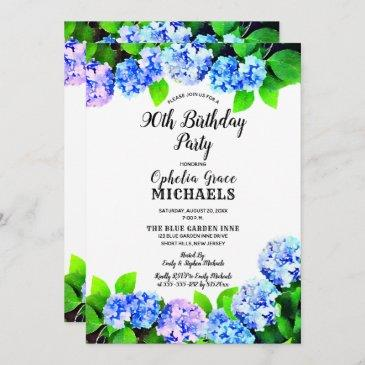 blue watercolor floral birthday party invitation