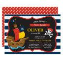 blue white stripes pirate ship birthday invitations