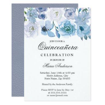 blue wonderland gray flower quinceanera invite