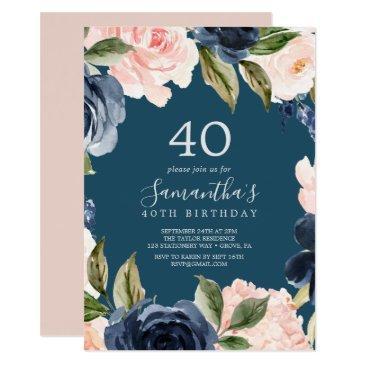 blush and navy flowers blue wreath 40th birthday invitations