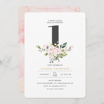 blush floral & eucalyptus girl 1st birthday party invitation