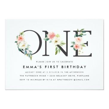 Small Blush Florals | 1st Birthday Party Invitations Front View