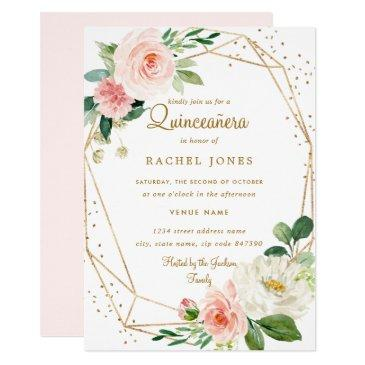 blush gold floral geometric quinceanera invitations