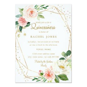 Small Blush Gold Floral Geometric Quinceanera Invitation Front View