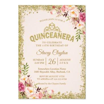 Small Blush Gold Pink Floral Quinceanera 15th Birthday Invitation Front View
