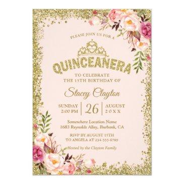 blush gold pink floral quinceanera 15th birthday invitation
