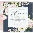 blush navy floral greenery girl 3rd birthday party invitation
