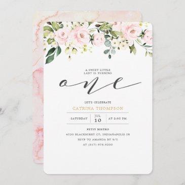 blush pink floral & eucalyptus girl 1st birthday invitation