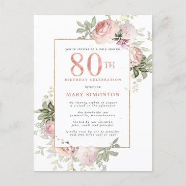 blush pink gold floral 80th birthday party invitation postinvitations