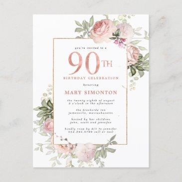 blush pink gold floral 90th birthday party invitation postinvitations