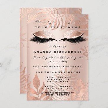 blush pink palm eyesglitter copper 16th bride invitation