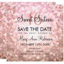 blush pink rose gold sweet 16 glitter lights invitations