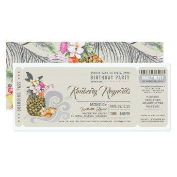 boarding pass | pineapple | beach birthday party invitation