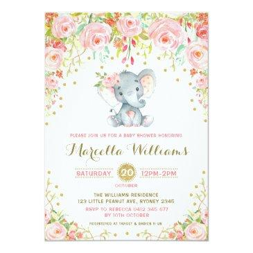 Small Boho Floral Elephant Invitation Pink Baby Shower Front View