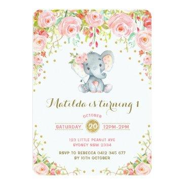 boho floral elephant invitations pink gold birthday