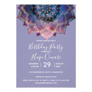 boho floral mandala chic, trendy & modern invitation
