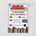 bold superhero birthday inviation invitation